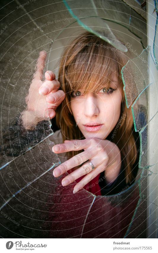 Woman Human being Youth (Young adults) Hand Beautiful Adults Feminine Window Glass Dangerous Safety Living or residing Transience Observe Hollow Young woman