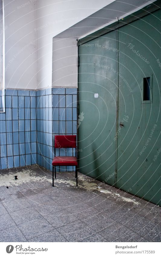 Old Blue White Red Building Sadness Wait Change Chair Transience Manmade structures Factory Derelict Tile Decline Staircase (Hallway)