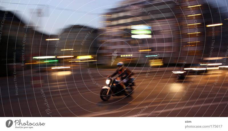 ... streetlife ... Colour photo Exterior shot Evening Twilight Night Light (Natural Phenomenon) Long exposure Motion blur Lifestyle Motorcycle Motorsports Town