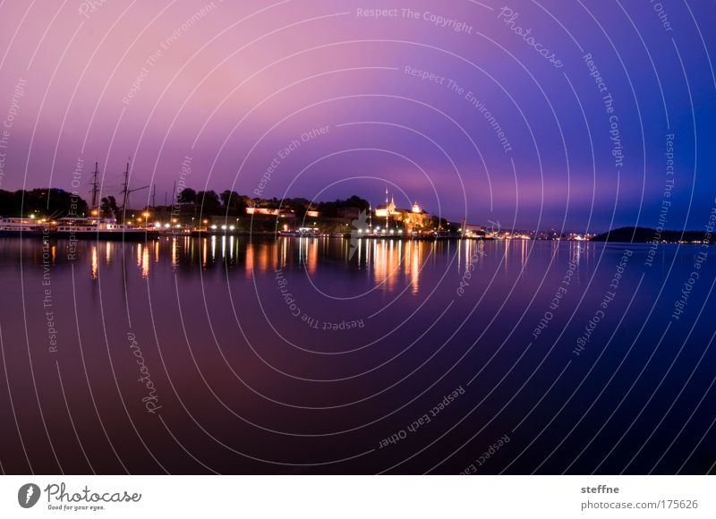 Beautiful Calm Watercraft Contentment Moody Violet Idyll Bay Norway Capital city Scandinavia Port City Water reflection Oslo
