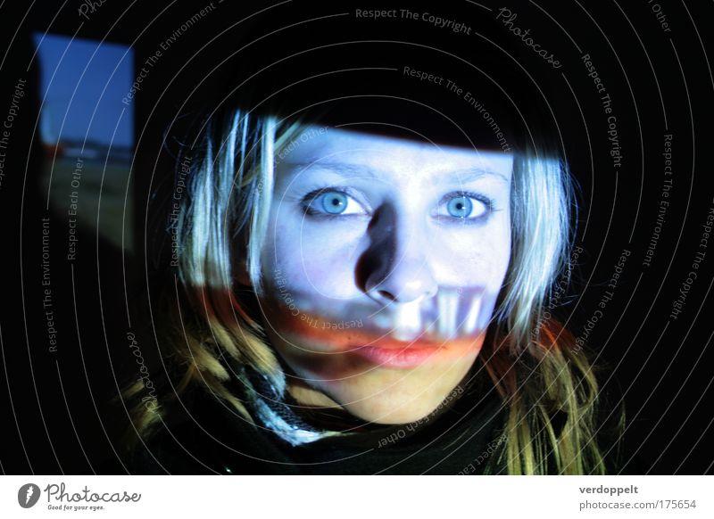 hesitation Human being Youth (Young adults) Blue Face Dark Feminine Think Art Looking Film industry Observe Fantastic Media Night Illuminate