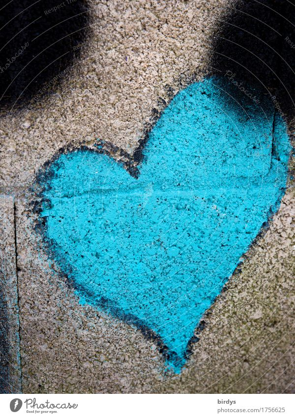 warm blue Youth culture Subculture Wall (barrier) Wall (building) Sign Graffiti Heart Exceptional Uniqueness Positive Blue Gray Sympathy Love Infatuation Design