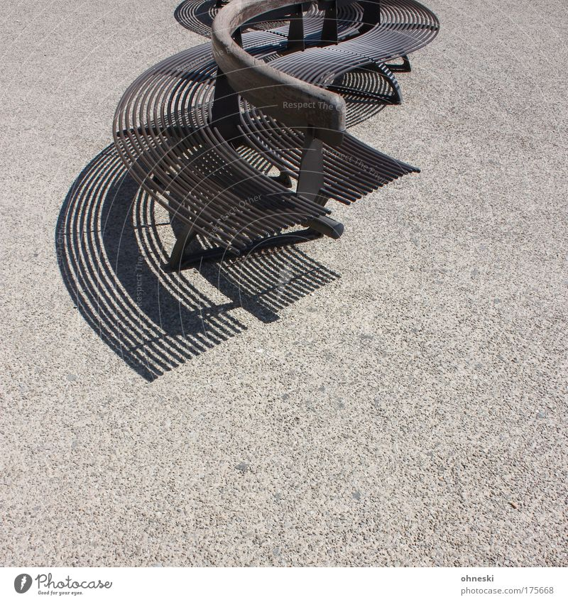 seating Subdued colour Deserted Copy Space bottom Shadow Contrast Sunlight San Gimignano Tuscany Italy Small Town Outskirts Stone Concrete Wood Steel Gray Curve