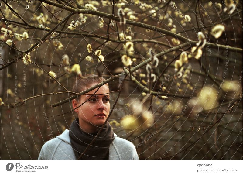 Woman Human being Nature Youth (Young adults) Beautiful Tree Loneliness Calm Face Adults Life Environment Emotions Freedom Movement Sadness