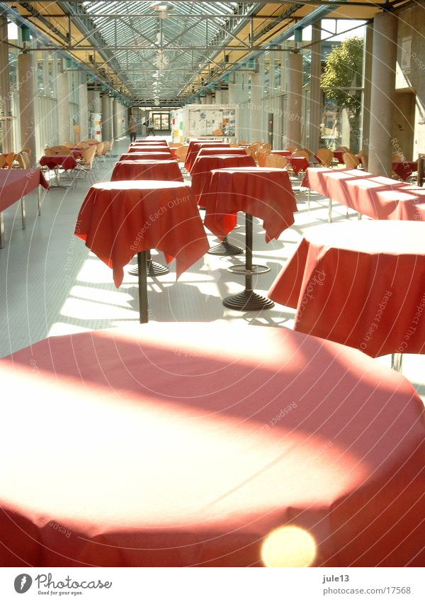 tables Table Restaurant Red Light Sunbeam Architecture standing tables Room Glass Row Escape Tablecloth