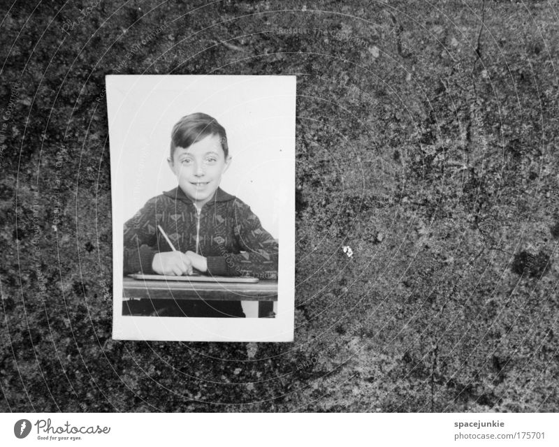 gap in education Black & white photo Copy Space right Portrait photograph Looking into the camera Parenting Education Child School Study School building