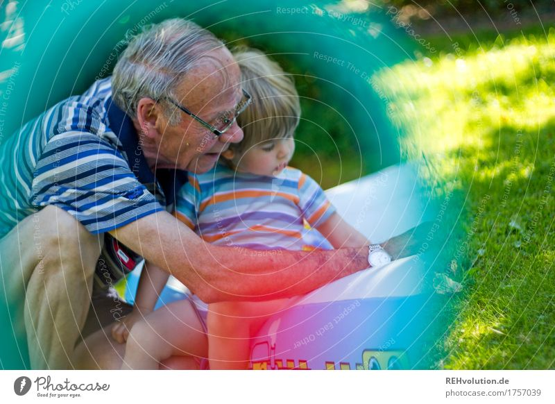Human being Nature Man Old Summer Joy Adults Environment Senior citizen Meadow Playing Small Happy Garden Together Masculine