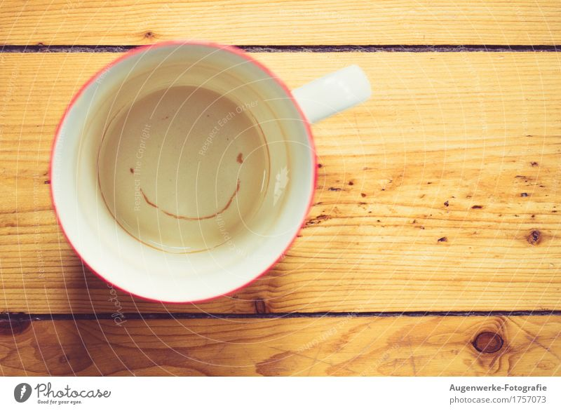 cup Cup Wood Happiness Funny Positive Warmth Brown Yellow Joy Happy Joie de vivre (Vitality) Smiling Grinning Good mood Tea cup Colour photo Interior shot