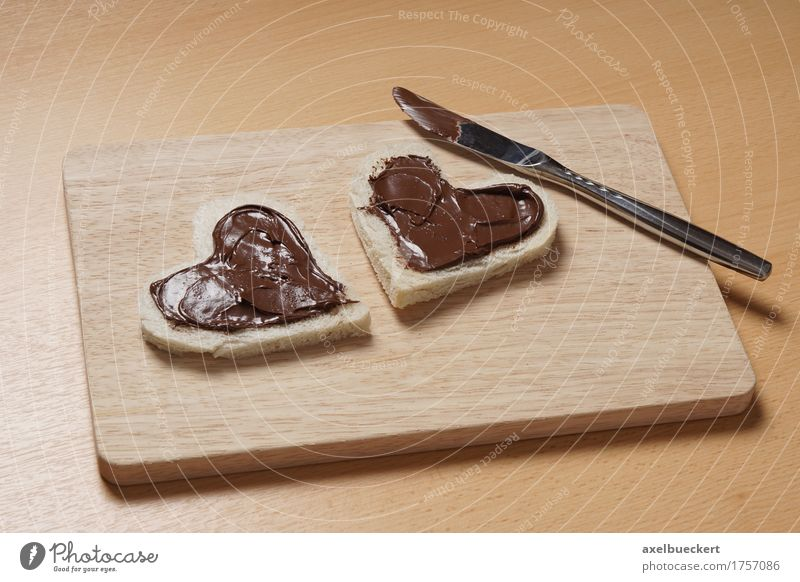 heart shaped toast slices with chocolate spread Food Bread Breakfast Knives Valentine's Day Mother's Day Birthday Wood Heart Love Delicious Cute Passion