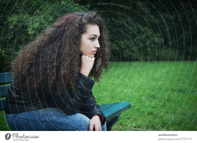 sad young woman sitting on bench Lifestyle Human being Feminine Girl Young woman Youth (Young adults) Woman Adults 1 13 - 18 years Park Brunette Long-haired