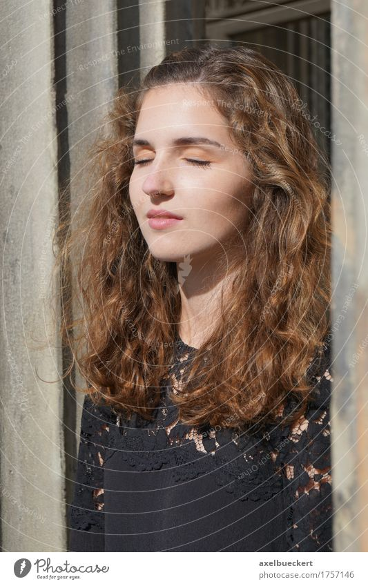 girl enjoying the sunshine on her face Lifestyle Beautiful Face Leisure and hobbies Sun Human being Feminine Young woman Youth (Young adults) Woman Adults 1