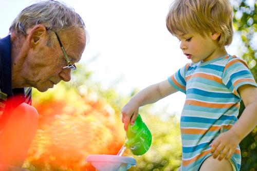 Grandpa with grandchild in the garden Human being Masculine Child Toddler Boy (child) Man Adults Male senior Grandfather Family & Relations Infancy
