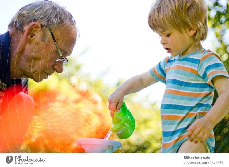 Human being Child Nature Man Old Joy Adults Environment Love Senior citizen Boy (child) Family & Relations Playing Garden Together Work and employment