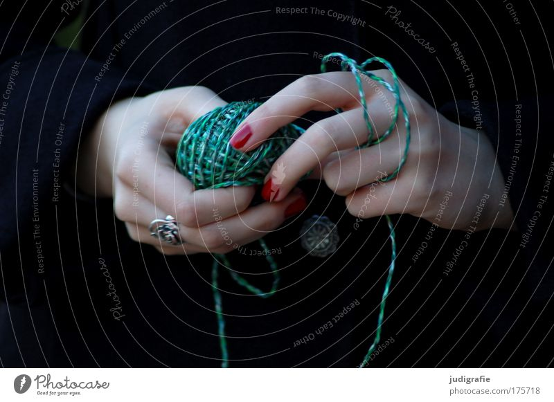 Hand Youth (Young adults) Green Red Feminine Playing Sewing thread Magic Wool Coil Knit Young woman Knot Handcrafts