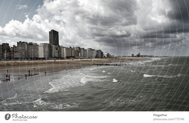 The day that Ostend stood still Landscape Sand Clouds Storm clouds Summer Bad weather Wind Gale Thunder and lightning Waves Coast Beach North Sea Ocean Blue