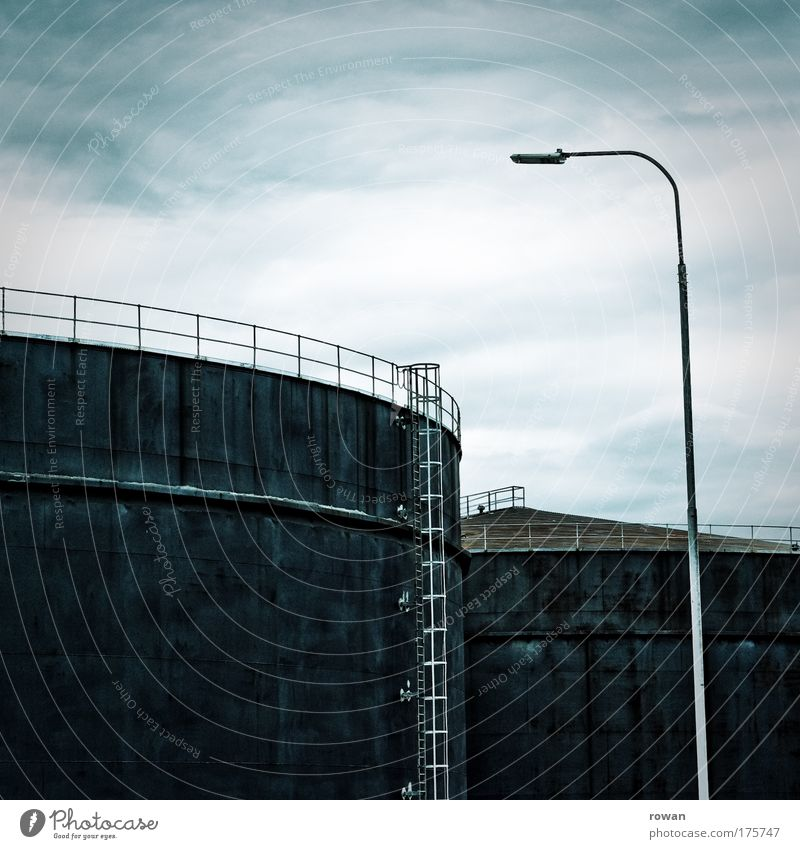 Blue Black Dark Cold Large Industry Energy industry Technology Industrial Photography Round Industrial plant Full Oil Electricity generating station Tank