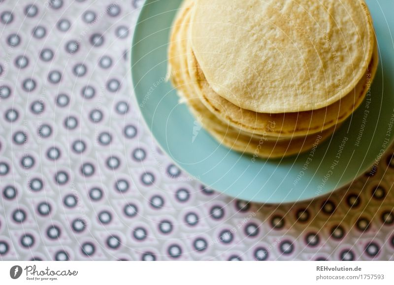 small pancakes Food Candy Pancake Breakfast Lunch Plate Eating To enjoy Delicious Pattern Cloth Tablecloth Colour photo Interior shot Copy Space left Day Blur