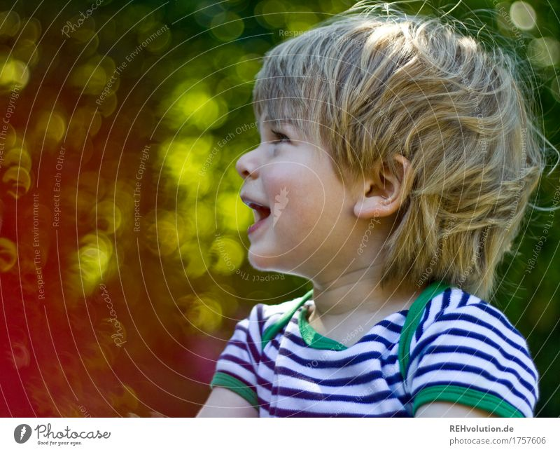 summer portrait Human being Masculine Child Toddler Boy (child) 1 1 - 3 years Environment Nature Garden Communicate To talk Authentic Friendliness Happiness
