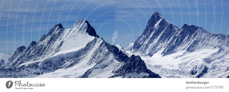 Fixed waves Calm Tourism Mountain Nature Landscape Winter Beautiful weather Snow Rock Alps Central Switzerland Peak Snowcapped peak Glacier Gigantic Cold Blue