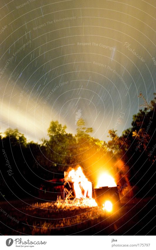 Sky Warmth Stars Fire Hot Night sky Fireplace Night Long exposure Camp fire atmosphere Fireglow