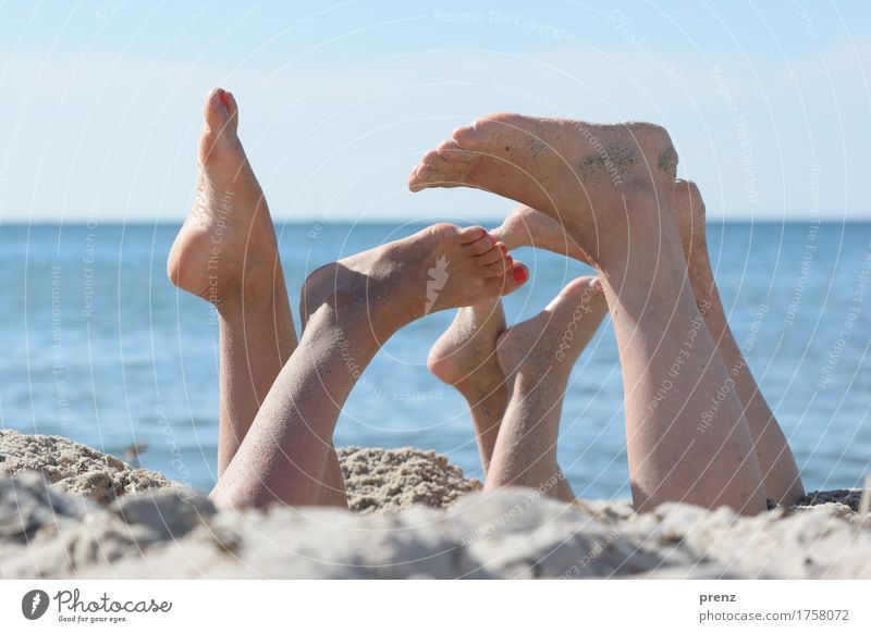 Human being Youth (Young adults) Naked Blue Summer Landscape Beach 18 - 30 years Adults Spring Natural Feminine Legs Family & Relations Playing Feet
