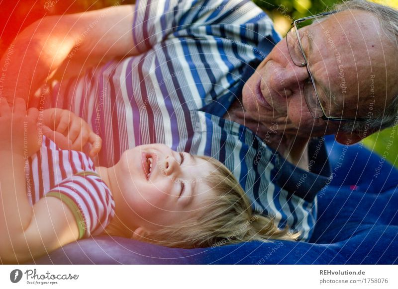 Human being Child Man Old Blue Relaxation Joy Adults Senior citizen Funny Healthy Boy (child) Family & Relations Laughter Happy Garden