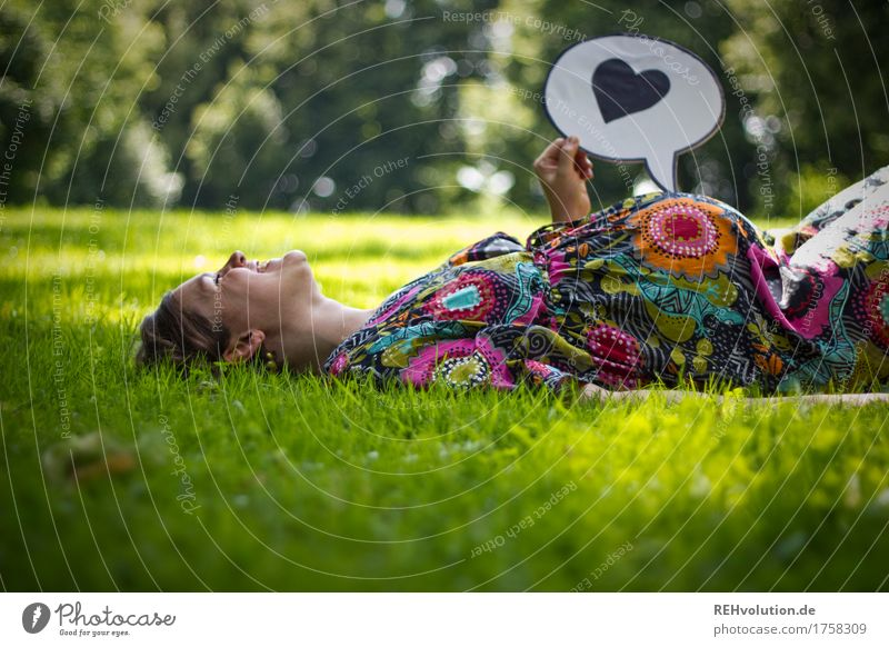 Human being Woman Nature Youth (Young adults) Young woman Adults Environment Emotions Love Meadow Natural Grass Feminine Happy Garden Park