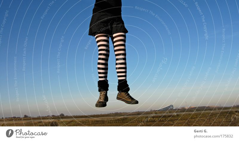 extremities Legs Hang Flying go up go up in the air Chucks Stockings Tights Striped Black & white photo tutu balettkleid Alpincenter Bottrop Landscape Blue