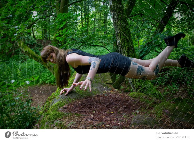 Human being Nature Youth (Young adults) Green Beautiful Young woman Loneliness Forest 18 - 30 years Adults Environment Movement Feminine Exceptional Freedom Fashion
