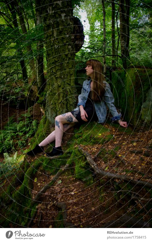 Carina on the quarry face. Human being Feminine Young woman Youth (Young adults) Woman Adults 1 18 - 30 years Environment Nature Summer Tree Forest Dress Tattoo
