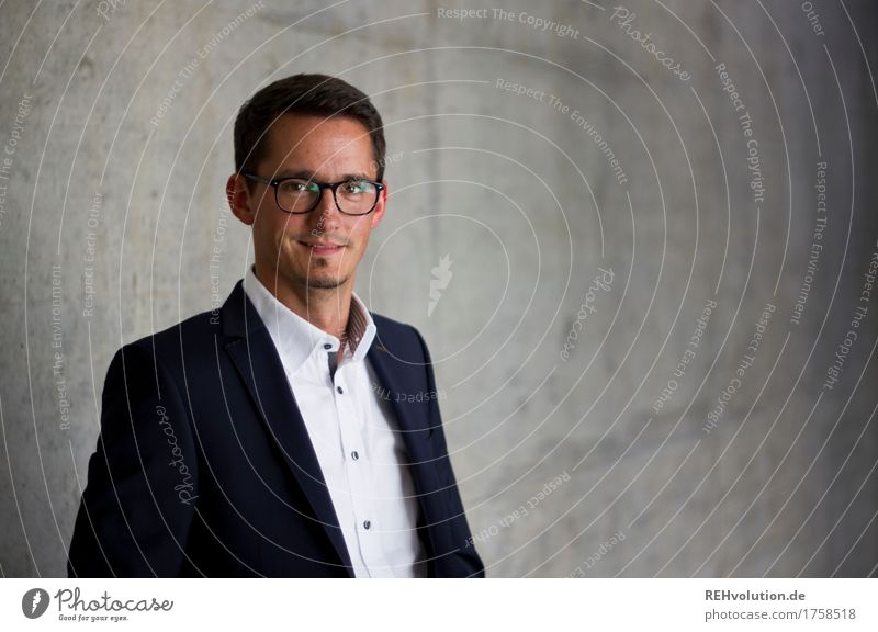 Concrete Portrait Academic studies Study Business Company Career Success Human being Masculine Man Adults Face 1 30 - 45 years Shirt Suit Eyeglasses Smiling