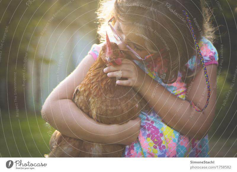 Human being Child Animal Girl Emotions Love Feminine Happy Bird Together Friendship Dream Free Illuminate Infancy To enjoy