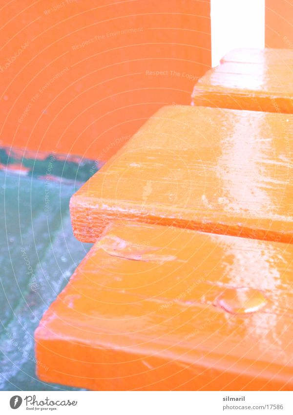 Green Red Wood Orange Bench Seating Photographic technology