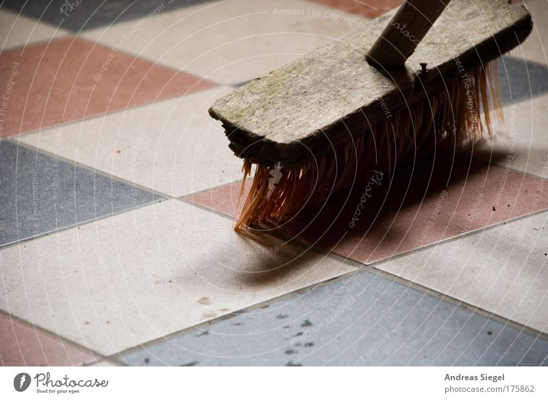 In process Colour photo Interior shot Detail Deserted Shadow Contrast Living or residing Flat (apartment) Tile Ground Floor covering Broom Dirty Stone Wood Line