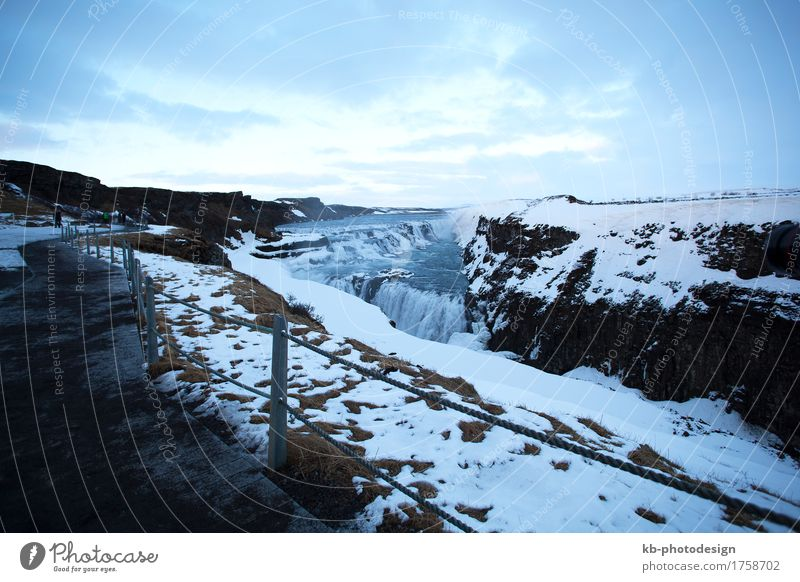 Famous waterfall Gullfoss in Iceland Vacation & Travel Tourism Adventure Far-off places Sightseeing Winter Hill Waterfall wintertime tourists snow landmark