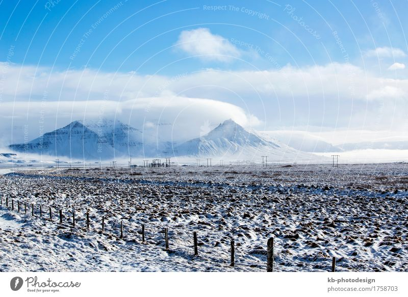 Impressive winter mountain landscape in Iceland Vacation & Travel Tourism Adventure Far-off places Winter Snow Winter vacation Mountain Hiking Frost Hill