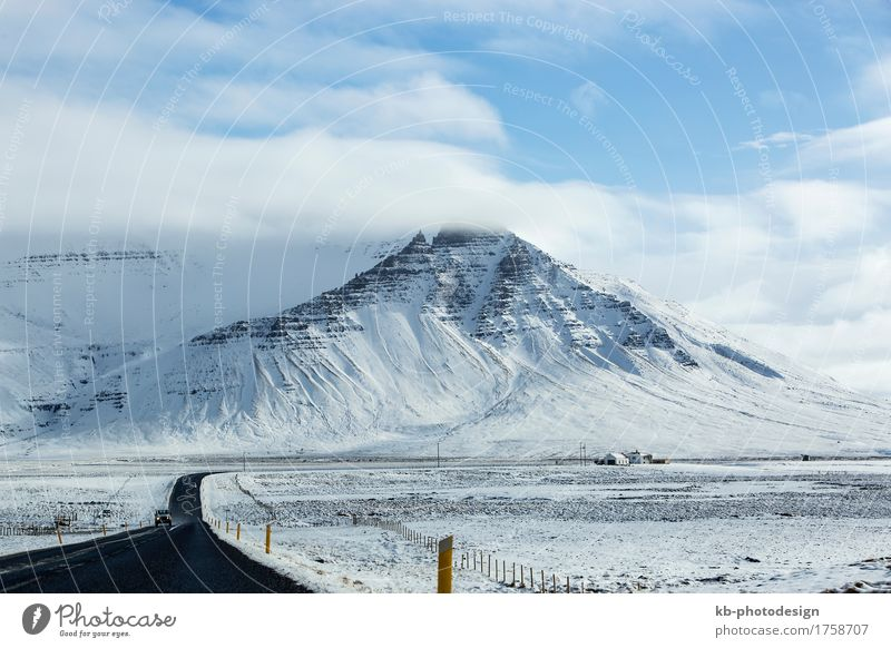 Impressive snowy landscape at the ringroad in Iceland Vacation & Travel Tourism Adventure Far-off places Winter Snow Winter vacation Bad weather Frost Mountain