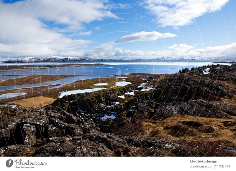 First European parliament Thingvellir in Iceland in winter Vacation & Travel Tourism Adventure Far-off places Sightseeing Winter Winter vacation Mountain