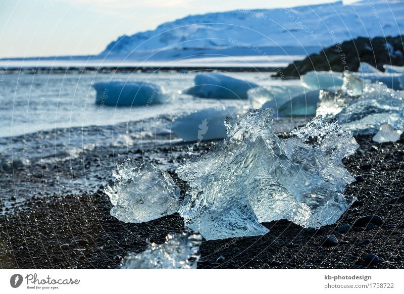 Ice blocks at glacier lagoon Jokulsarlon in Iceland Vacation & Travel Tourism Adventure Far-off places Sightseeing Winter vacation Climate change Coast Beach