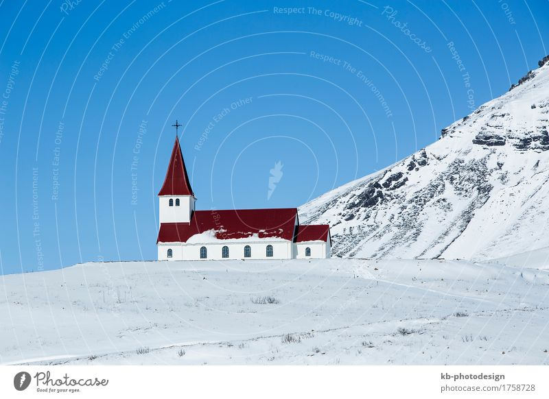 Church of Vik in wintertime Vacation & Travel Tourism Adventure Far-off places Winter Religion and faith Iceland south panorama holidays skis landscape snow