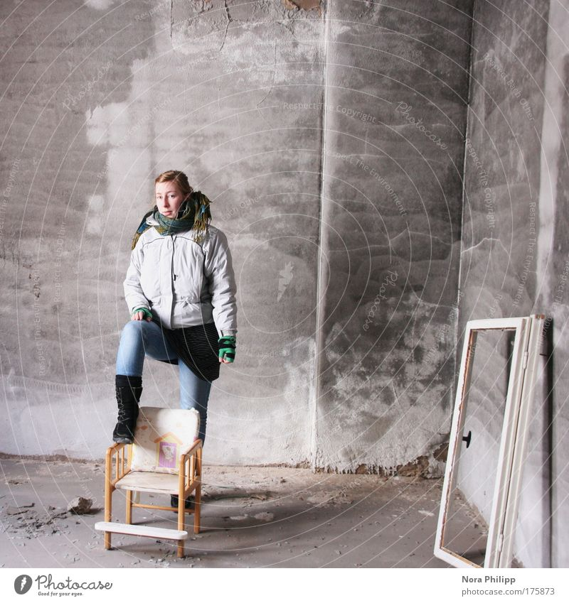 Human being Youth (Young adults) Adults Feminine Gray Style Time Stand Lifestyle Cool (slang) Uniqueness Chair Jeans Factory 18 - 30 years Jacket