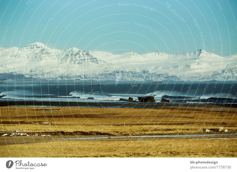 Snowy mountain landscape in East Iceland, wintertime Vacation & Travel Tourism Adventure Far-off places Winter Wind Mountain Fjord east ring road street