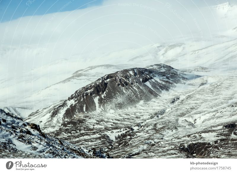 Snow-covered volcanic mountain landscape Vacation & Travel Tourism Adventure Far-off places Winter Winter vacation Wind Hill Mountain Hiking Iceland volcano