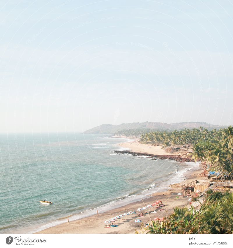 Anjuna Beach Colour photo Exterior shot Copy Space top Day Light Wide angle Vacation & Travel Far-off places Freedom Landscape Sand Water Sky Beautiful weather