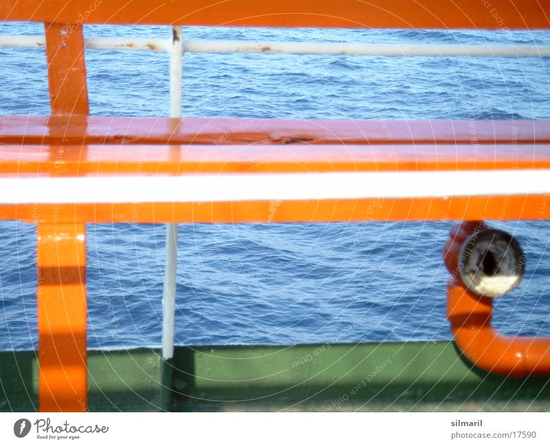 Water Green Blue Vacation & Travel Watercraft Waves Places Bench Seating Ferry Photographic technology Orange-red