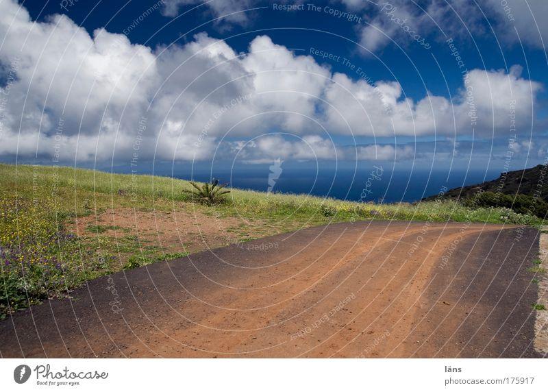 Sky Ocean Blue Clouds Far-off places Street Mountain Freedom Lanes & trails Landscape Air Contentment Horizon Earth Trip