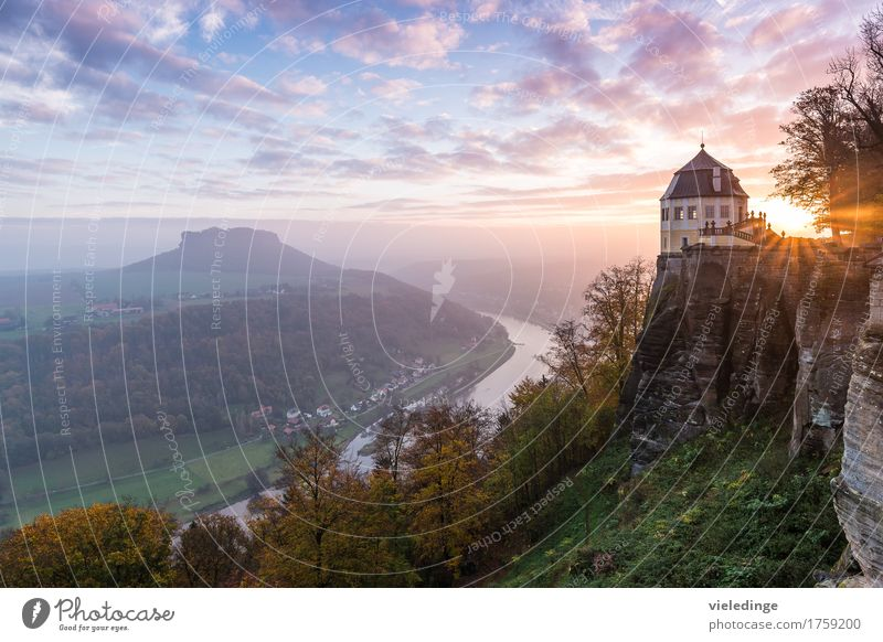Lilienstein with Elbe Valley and Friedrichsburg Vacation & Travel Tourism Mountain Hiking Climbing Mountaineering Nature Landscape Clouds Sunrise Sunset Autumn