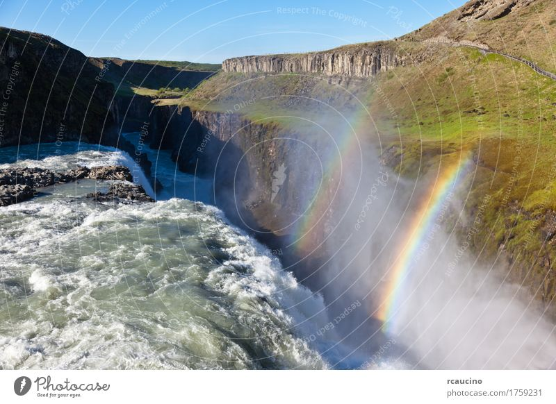Gullfoss (Golden Falls) waterfall located in southwest Iceland Sky Nature Blue Summer Landscape Europe River Waterfall