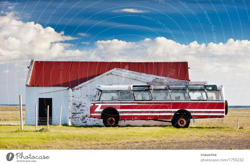 Old public bus parked in an icelandinc farm Summer Landscape Adventure Iceland Europe Parking Bus Farm European North Country road Red Exterior shot