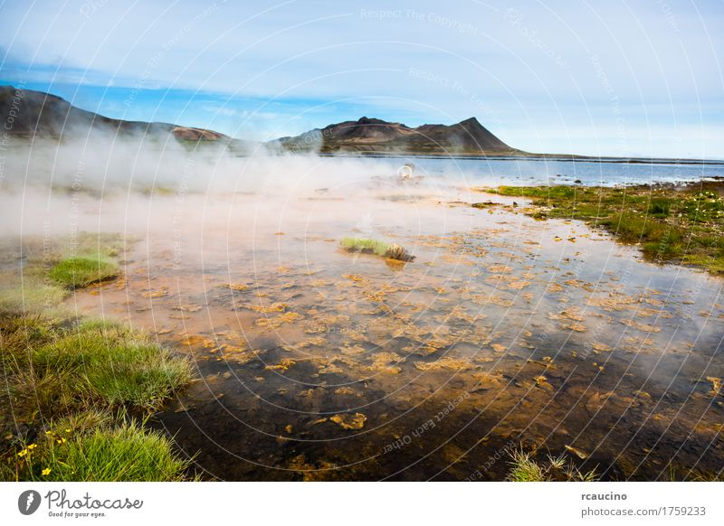 Hot springs next the sea, Snaefellsnes peninsula, Iceland. Relaxation Summer Landscape Warmth Energy Atlantic Ocean Europe Geothermy geothermal fields